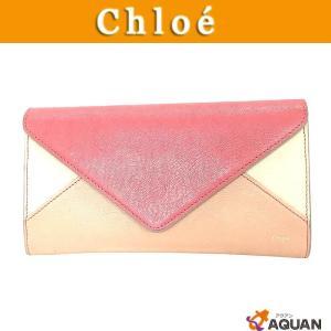 Chloe クロエ 長財布 パッチワーク PATCHWORK サイフ レザー ピンク|aquankyoya