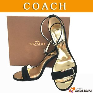 セール! COACH コーチ ミュール サンダル ピンヒール 靴 バックスキン ブラック レディース 表示サイズ37 |aquankyoya