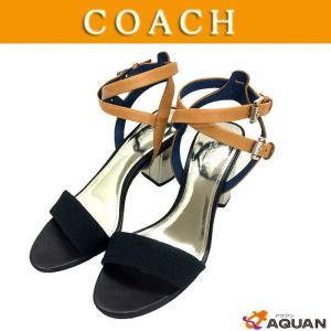 セール! COACH コーチ サンダル ヒールサンダル 靴 ブラック×キゃメル レディース 表示サイズ:37|aquankyoya