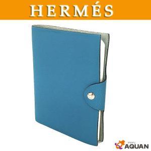 HERMES エルメス ユリスPM 手帳カバー アジェンダ ノートカバー レザー ブルージーン