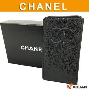 CHANEL シャネル 携帯ケース 携帯カバー アイフォンケース iPhone4ケース キャビアスキン レザー ブラック|aquankyoya