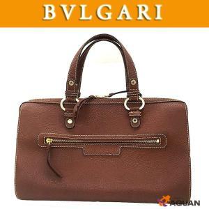 BVLGARI ブルガリ ボストンバッグ トートバッグ レザー ブラウン 送料無料|aquankyoya