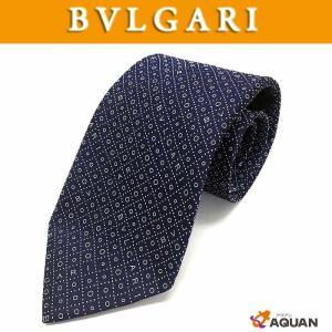 BVLGARI ブルガリ ネクタイ メンズ シルク ネイビー ロゴ|aquankyoya