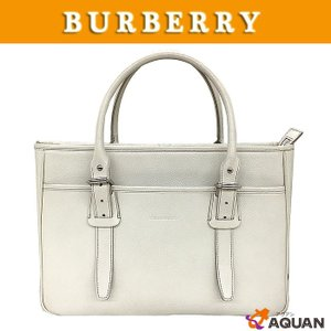 BURBERRY バーバリー トートバック ビジネスバッグ レザー アイボリー 送料込み|aquankyoya