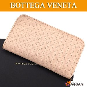 BOTTEGA VENETA ボッテガヴェネタ ラウンドファスナー長財布 イントレチャート レザー ピンク 114076-V001N/6813 未使用 送料込み|aquankyoya