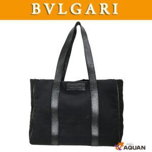 BVLGARI ブルガリ トートバッグ ショルダーバッグ ロゴマニア キャンバス×レザー ブラック|aquankyoya