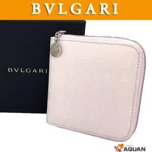 BVLGARI ブルガリ ロゴマニア 折財布 ラウンドファスナー折財布 ナイロンキャンバス×レザー ライトピンピンク 未使用 送料込み|aquankyoya