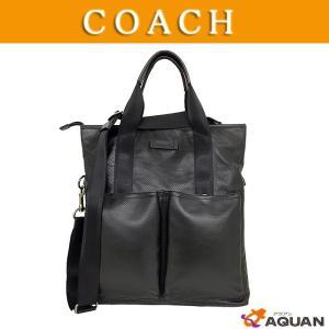 COACH コーチ メンズ F71684 トートバッグ ショルダーバッグ パンチングレザー ブラック 2WAY 未使用|aquankyoya