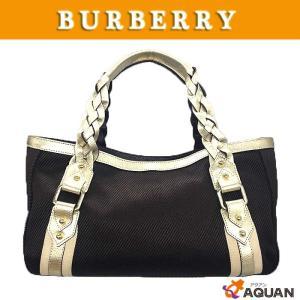 BURBERRY バーバリー トートバッグ キャンバス×レザー ブラウン×シャンパンゴールド|aquankyoya