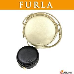 FURLA フルラ ポシェット 斜め掛けショルダー YO-YO  ヨーヨー ショルダーバッグ ポシェット&ポーチSET シャンパンゴールド ブラック 未使用|aquankyoya
