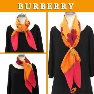 BURBERRY バーバリー スカーフ 大判カレ フラワープリント オレンジ×ピンク シルク|aquankyoya