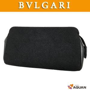 BVLGARI ブルガリ マキシロゴポーチ レザー キャンバス ブラック メンズ レディース 男女兼用 小物入れ |aquankyoya