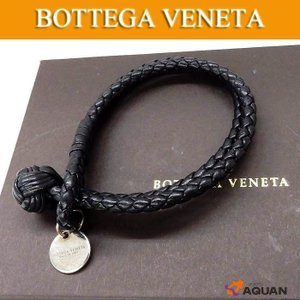 BOTTEGA VENETA  ボッテガヴェネタ イントレチャート ブレスレット レザー ブラック 男女兼用 |aquankyoya