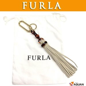 FURLA フルラ バッグチャーム フリンジチャーム キーホルダー キーリング ベージュ系 未使用|aquankyoya