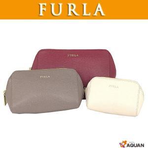 FURLA フルラ ポーチ3点セット コスメポーチ 化粧ポーチ レザー オフホワイト グレー ルージュ 未使用|aquankyoya