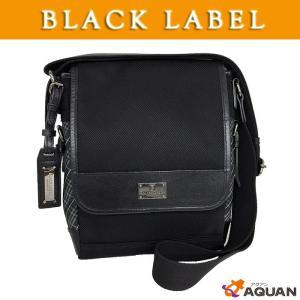 BLACK LABEL ブラックレーヴベル ショルダーバッグ 斜めが掛けショルダーバッグ ナイロンキャンバス×レザー メンズ ブラック|aquankyoya