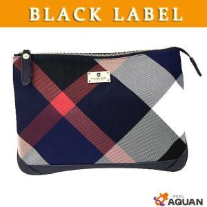 BLACK LABEL ブラックレーベル クレストブリッジチェック ミニクラッチ クラッチバッグ セカンドバッグ メンズ ブラック×ブルーチェック|aquankyoya