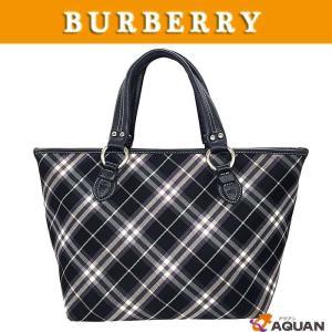 BURBERRY バーバリー ブルーレーベル トートバッグ 台形トート チェック キャンバス×レザー ブラック×パープル|aquankyoya