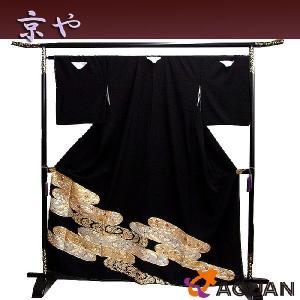 京や 正絹 留袖 黒留袖 五つ紋 比翼仕立て 金駒刺繍 観世 宝尽くし 花 リサイクル着物 新古品 未使用 美品|aquankyoya