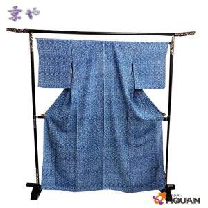 京や 正絹 絽 小紋 藍色  更紗文様 染小紋 三本絽  夏着物 仕立て上がり リサイクル着物 新古品 美品|aquankyoya