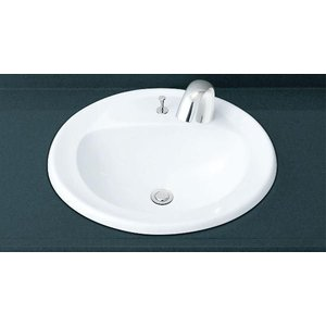 INAX はめ込みだ円形洗面器 オーバーカウンター式 L-2394AP+AM-140TC(100V)|aquashop07