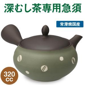 帯網急須 グリーン水玉 320cc 深むし茶専用急須 常滑焼|arahata