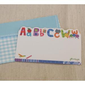 ミニメッセージカード「アルファベットとクレヨン」【名刺型・封筒つき】【メール便可】|arancia-mm