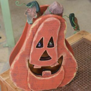 木製ジャック オ ランタン(パンプキン・ノッポさん)ハロウィンデコレーションライト arancia-mm