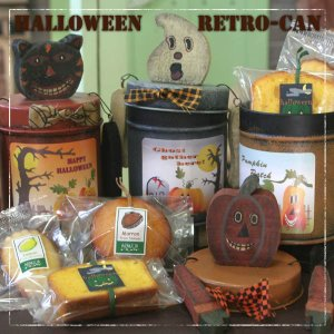 ハロウィンレトロCAN(パンプキン・ゴースト・黒猫)〜和歌山産カボチャとフルーツの焼き菓子缶入りプチギフト|arancia-mm