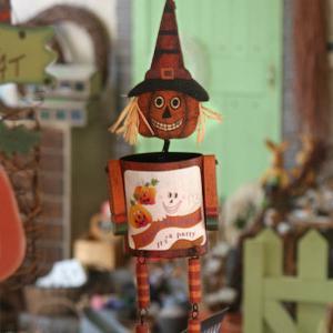 「ハロウィンパンプキンかかしポケット」ブリキと木でできた小物入れつき「ジャック オ ランタン」アンティーク風壁飾り arancia-mm