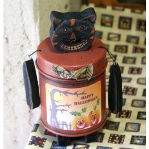アンティーク仕上げがかわいいハロウィンデコ缶(黒猫) arancia-mm