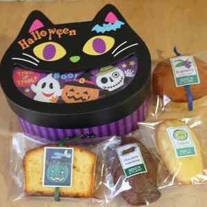 ハロウィンスイーツギフト「ブラックキャット」黒猫型のボックス入り和歌山産カボチャやフルーツ・チョコなどの4種の焼き菓子プチギフト arancia-mm