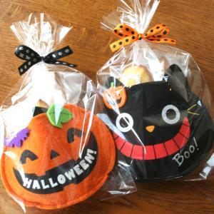 ハロウィンスイーツギフト「ポシェット」黒猫とジャック オ ランタンのポーチ入りカボチャのスコーンと柑橘系マドレーヌの2種の焼き菓子プチギフト|arancia-mm