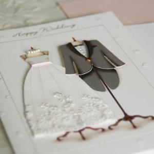 ウェディングカード(結婚祝い立体カード)「晴れの日の衣装」〜ウエディングドレスとタキシード【メール便可】 arancia-mm