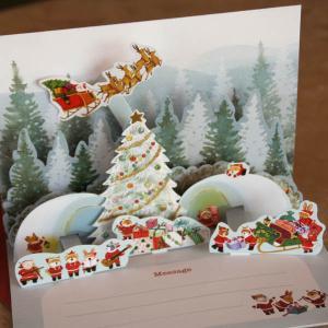 立体クリスマスカード(森の中の真っ白なツリーと動物たちのかまくら)【メール便可】 arancia-mm