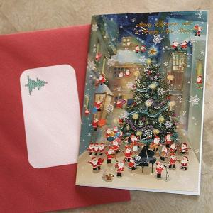 クリスマスカード『夜の街中にサンタがいっぱい〜大きなツリーとサンタオーケストラ』【メール便可】 arancia-mm