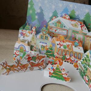 立体クリスマスカード Christmas pop up card (サンタたちが町にやってきた) arancia-mm
