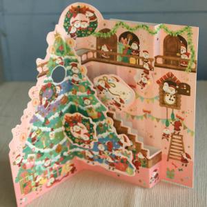 立体クリスマスカード『大きなクリスマスツリー〜サンタがいっぱいクリスマスの準備』【メール便可】 arancia-mm