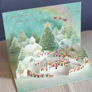 メルヘンポップアップクリスマスカード『サンタクロース楽団に森の動物たちが集う村』3D立体カード【メール便可】 arancia-mm