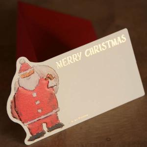 名刺型ミニクリスマスカード「袋を背負ったサンタクロース」【封筒つき】【メール便可】 arancia-mm