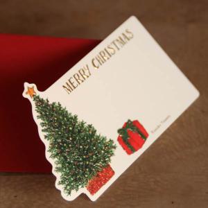 名刺型ミニクリスマスカード「クリスマスツリーとプレゼント」【封筒つき】【メール便可】 arancia-mm