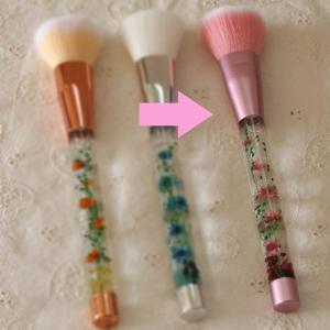 「メイクブラシ w/tハーバリウム」(ピンク)水中花のアレンジメントが彩るチークブラシ・メイクアップ用刷毛 母の日に|arancia-mm