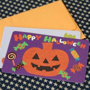 ハロウィーンカード「ジャックとキャンディ」(封筒付きハロウィン名刺型ミニカード)【メール便可】 arancia-mm