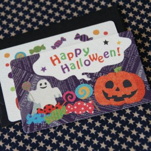 ハロウィーンカード「ゴーストとキャンディー」(封筒付きハロウィン名刺型ミニカード)Halloween【メール便可】 arancia-mm
