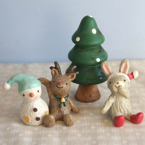 【クリスマスオーナメント】ノエルロマンチカ「うさぎのクリスマス」(ウサギ・トナカイ・ツリー・スノーマン4点セット)|arancia-mm