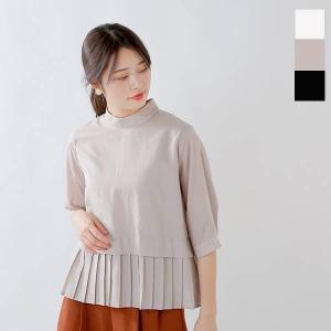 【クーポン対象】whyto ホワイト ベルマックススタンドカラー裾プリーツブラウス wht19hbl4|aranciato