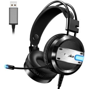 ヘッドセット ヘッドホン USB 在宅勤務 ゲーミングヘッドセット 高音質 軽量 LED マイク付き...