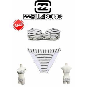 【新品】BILLABONG(ビラボン)水着 ビキニ 上下SET [STP] ストライプ柄 着やせ水着 サイズL (ah13836l)|arasoan