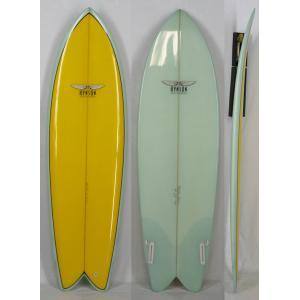 6'0'' HYNSON HAND SHAPE CUSTOM サーフボード [Yellow/Green]  ヒンソン ハンドシェイプ レトロボード FIN付き|arasoan