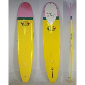 【新品 アウトレット 】Hawaiian Pro Designs(ハワイアンプロデザイン) IN THE PINK モデル ロングボード [Yellow/Green/Pink] 9'3